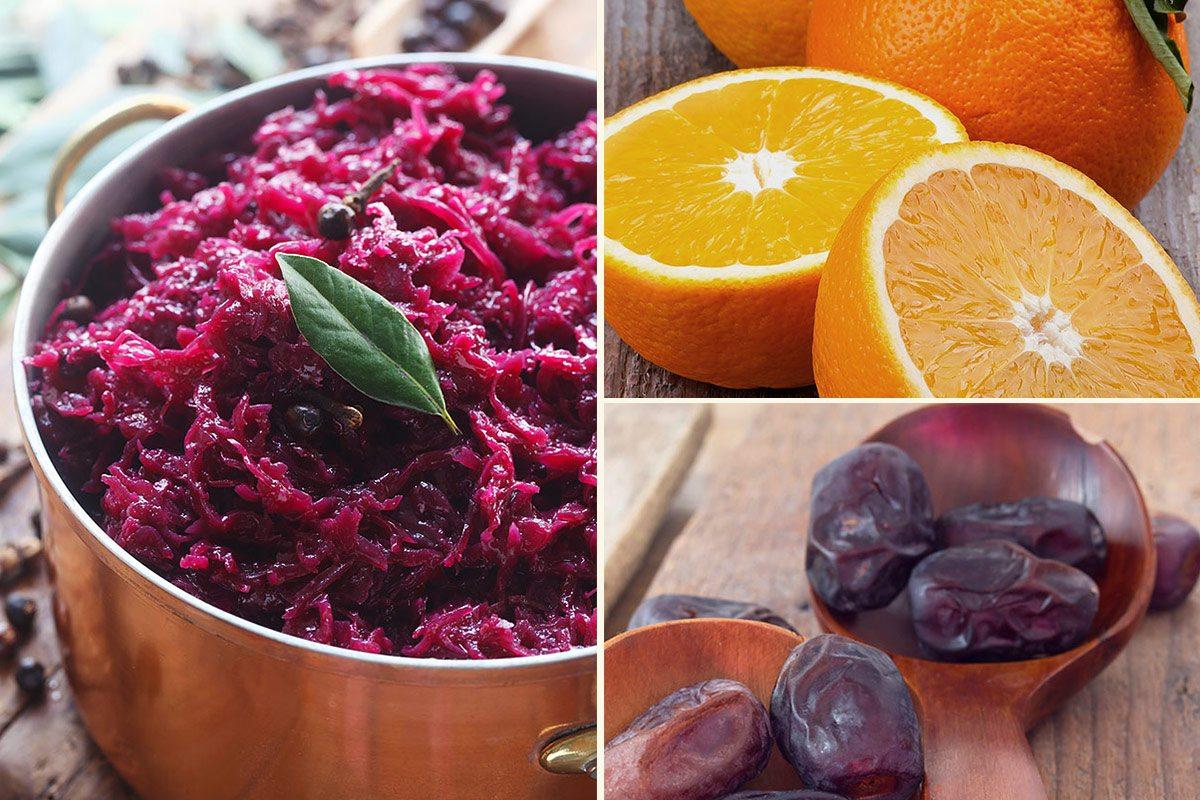 So schmeckt der Winter - Rotkohl, Orangen und Datteln.