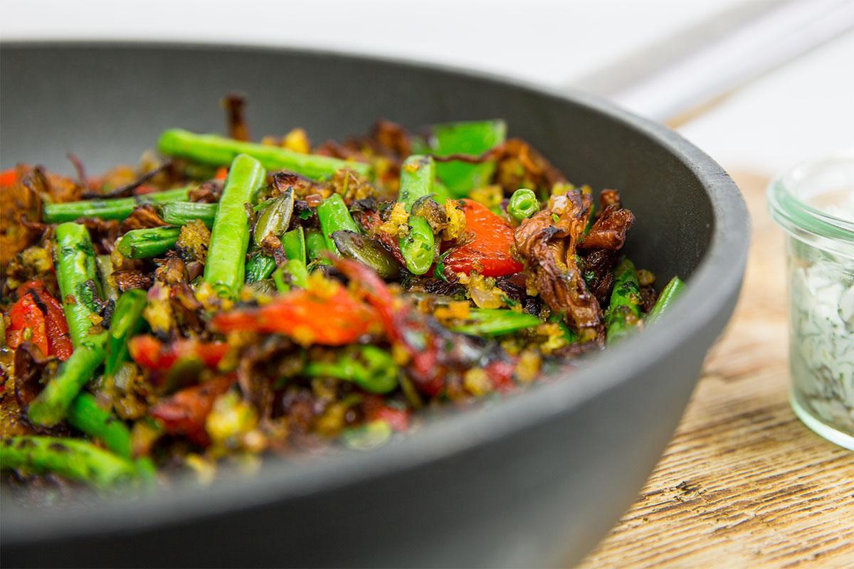 Vegan und eisenreich: Rezept für Bohnen-Pfifferling-Pfanne